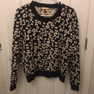 Rebecca Taylor Leopard Knit Sweatshirt Sz Med